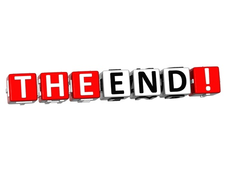 3D The End Cube text on white background Stock Photo - 12964596