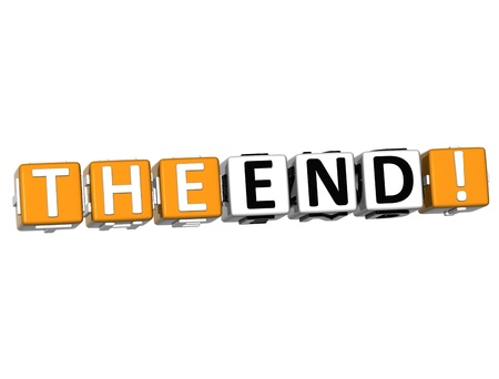 3D The End Cube text on white background Stock Photo - 12964585