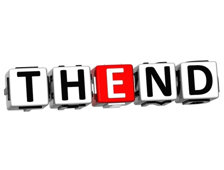 3D The End Cube text on white background photo