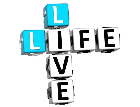 legality: 3D Live Life Crossword text on white background