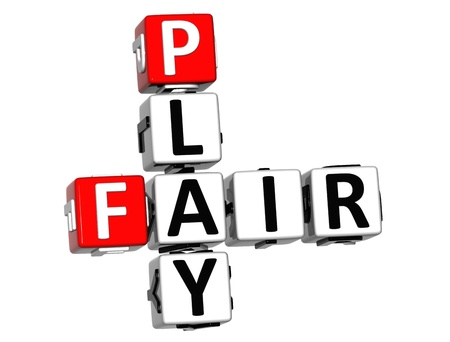 fair play: 3D Fair Play Crossword text on white background
