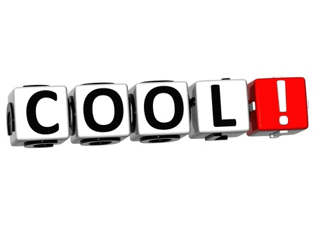 buzzwords: 3D Cool Block Cube text on white background Stock Photo