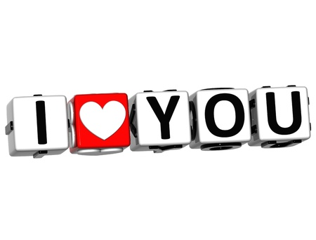i label: 3D Love You Button cube text over white background  Stock Photo