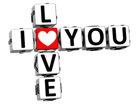3D Love You Button cube text over white background  photo