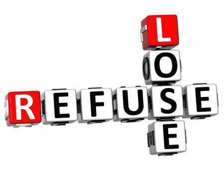 3D Refuse to Lose Crossword text on white background photo