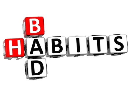 eating habits: 3D Bad Habits Crossword text on white background