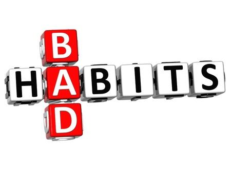 malos habitos: Los malos h�bitos de texto 3D Crucigrama sobre fondo blanco