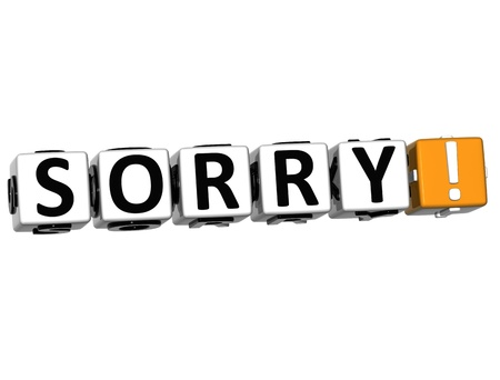 3D Sorry Block Cube text on white background Stock Photo - 12964589