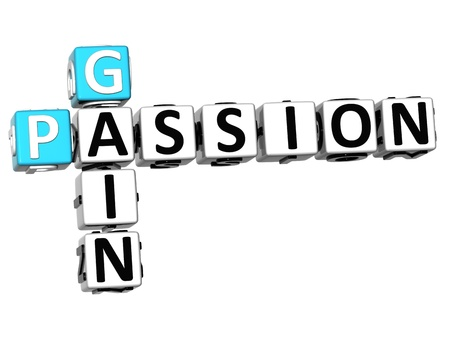 ingenuity: 3D Gain Passion Crossword text on white background