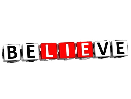 3D Believe in Yourself text on white background photo