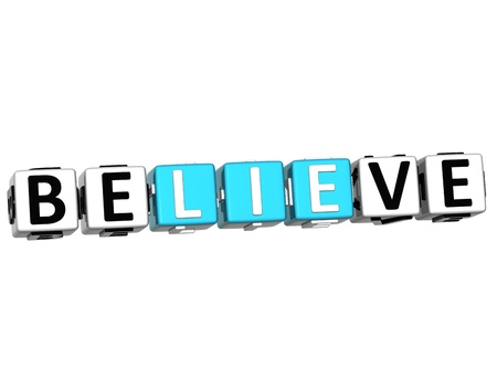 believe: 3D Believe in Yourself text on white background