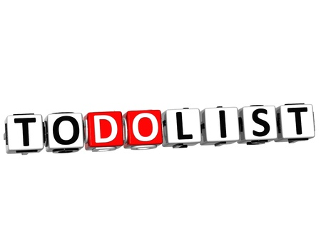 3D To Do List Cube text on white background photo