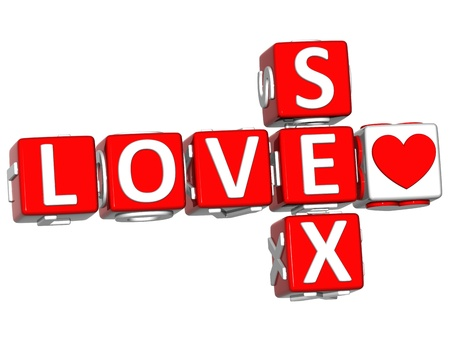 romantic sex: 3D Love Safe Sex Crossword text on white background Stock Photo