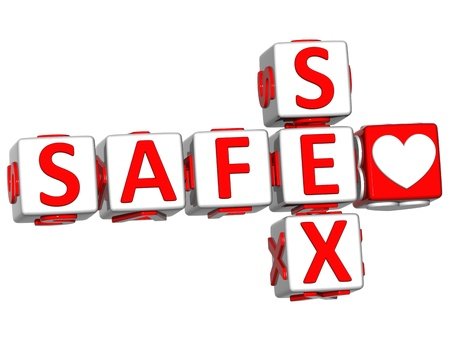 3D Love Safe Sex Crossword text on white background Stock Photo - 13081741