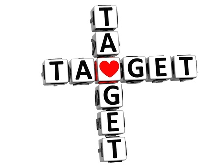love target: 3D Your Target Crossword cube words on white background