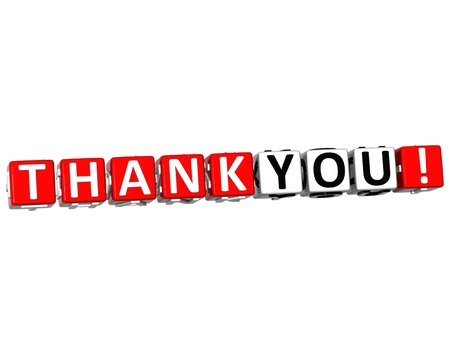 3D Thank You Cube text on white background Stock Photo - 13081648