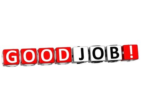 3D Good Job Kubus tekst op witte achtergrond