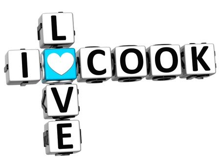 preparing food: 3D I Love Cook Crossword Block text on white background