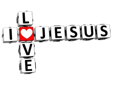 3D I Love Jesus Crossword Block text on white background