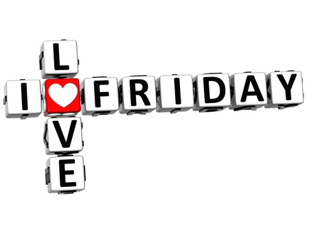 3D I Love Friday Crossword Block text on white background photo