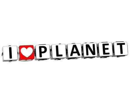 amor al planeta: 3D Amo Crucigrama Planeta Bloque de texto sobre fondo blanco Foto de archivo