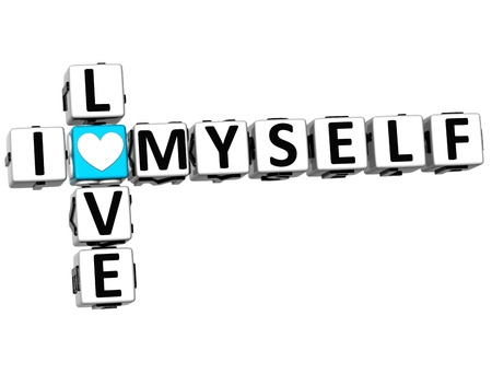 3D I Love Myself Crossword Block text on white background photo