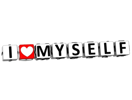 yourself: 3D I Love Myself Crossword Block text on white background