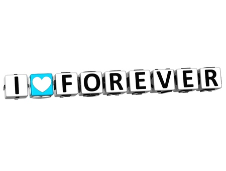 3D I Love Forever Crossword Block text on white background photo