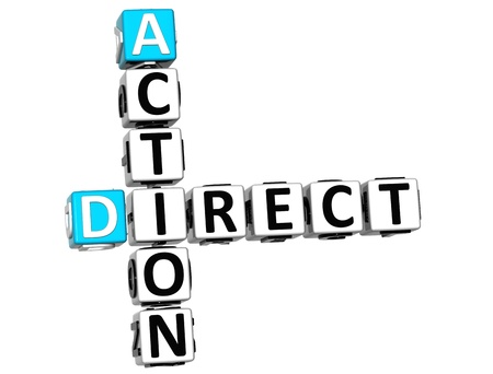 take action: 3D Direct Action Crossword text on white background