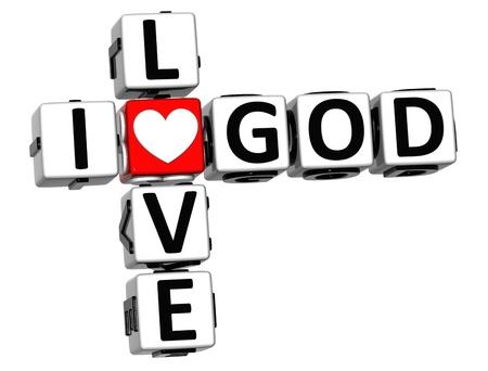 3D I Love God Crossword Block text on white background Stock Photo - 13081755