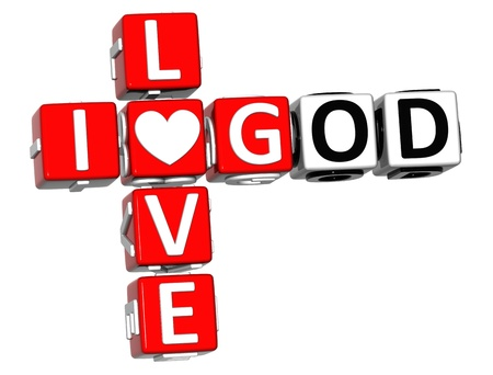 love words: 3D I Love God Crossword Block text on white background Stock Photo
