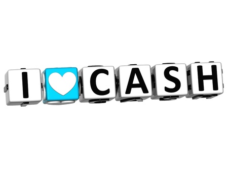 3D I Love Cash Crossword Block text on white background photo