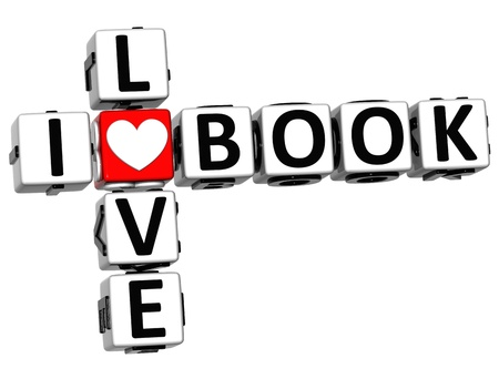 3D I Love Book Crossword Block text on white background photo