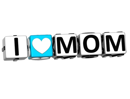 i love you symbol: 3D I Love Mom Crossword Block text on white background