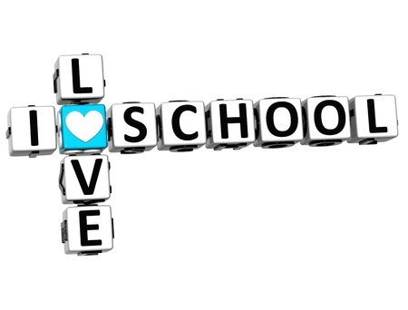 3D I Love School Crossword Block text on white background photo