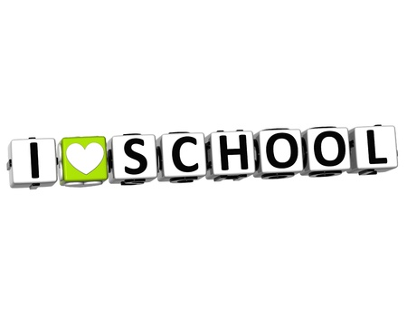 3D Love School Button cube text over white background  photo