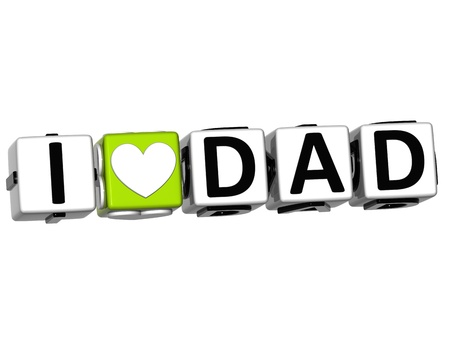3D I Love Dad Crossword Block text on white background photo