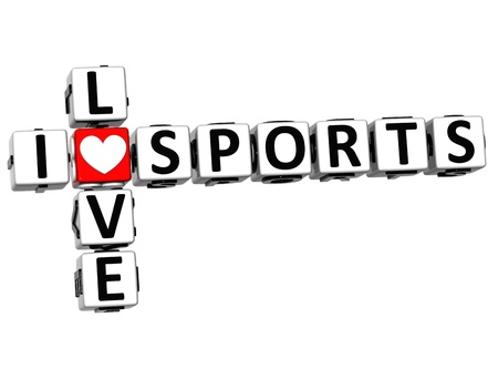 3D I Love Sports Crossword Block text on white background photo
