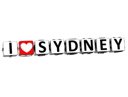 3D Love Sydney Button cube text over white background  photo