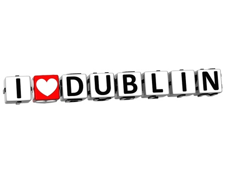 irish cities: 3D Love Dublin Button cube text over white background