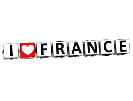 3D Love France Button cube text over white background  photo