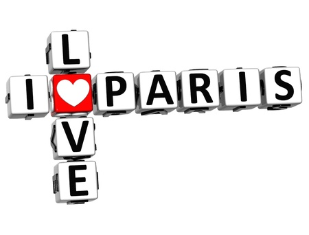 3D I Love Paris Crossword Block text on white background photo