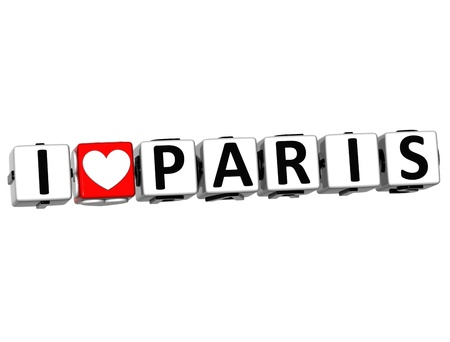 3D Love Paris Button cube text over white background  photo