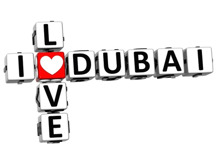3D I Love Dubai Crossword Block text on white background photo