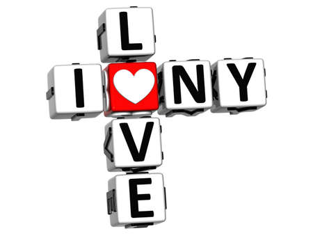 3D I Love NY Crossword Block text on white background photo
