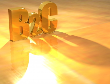 b2c: 3D B2C Gold text over yellow background  Stock Photo