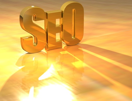 3D SEO Gold text over yellow background Stock Photo - 13613935