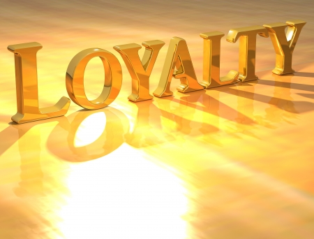 the faithful: 3D Loyality Gold text over yellow background  Stock Photo
