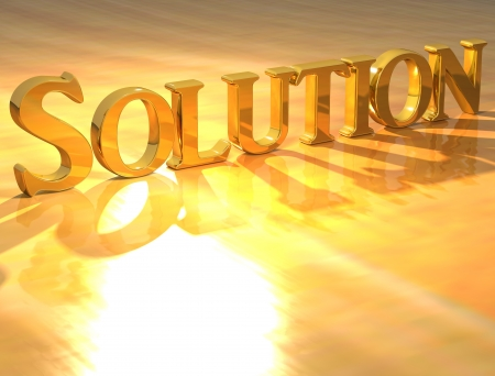3D Solution Gold text over yellow background  Stock Photo - 13613932