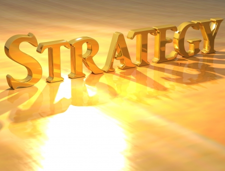 strategic plan: 3D Strategy Gold text over yellow background